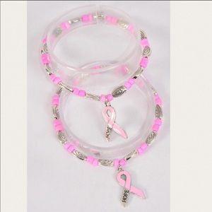 One Pink Ribbon Hope Bead Bracelet